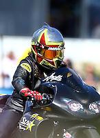 Jun 12, 2016; Englishtown, NJ, USA; NHRA pro stock motorcycle rider Angelle Sampey during the Summernationals at Old Bridge Township Raceway Park. Mandatory Credit: Mark J. Rebilas-USA TODAY Sports