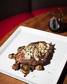 Ribeye steak with blue cheese and roasted brussel sprouts,  Bolt Bistro, 219 Fayetteville Street, Raleigh, Thursday, Nov. 1, 2012.
