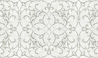 Marabel, a natural stone hand cut mosaic shown in honed Thassos and polished Calacatta Tia, is part of the Silk Road Collection by Sara Baldwin for New Ravenna Mosaics. <br />