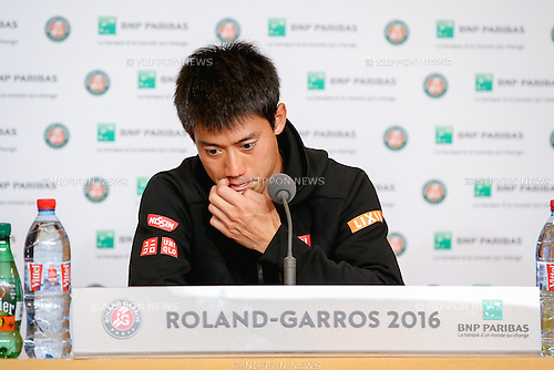 Kei Nishikori (JPN), MAY 29, 2016 - Tennis : Kei Nishikori of Japan speaks during the press conference after the Men's singles fourth round match of the French Open tennis tournament against Richard Gasquet of France at the Roland Garros in Paris, France. (Photo by AFLO)