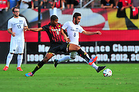 DJ Reeves of the Terrapins and Mason Klerks of Penn State battle for control of the ball. Maryland defeated Penn State in over time 3-2 during an NCAA D-1 soccer match at Ludwig Field in College Park, MD on Sunday, September 18, 2016.  Alan P. Santos/DC Sports Box