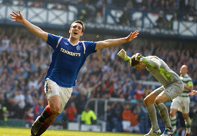 Rangers number 12 Lee Wallace celebrates his goal as Fraser Forster has a tizz