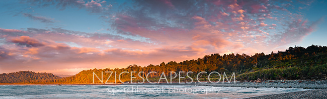 Sunset over Gillespies Beach, Westland National Park, West Coast, New Zealand