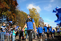 Dave Attwood of Bath Rugby makes his way through a tunnel of supporters prior to the match. Aviva Premiership match, between Bath Rugby and Harlequins on October 31, 2015 at the Recreation Ground in Bath, England. Photo by: Alex Davidson / JMP for Onside Images