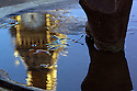 Big Ben reflected in a puddle on the Statue of Nelson Mandela in Parliament Square London
