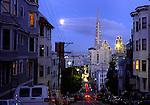 Moonrise at dusk in San Francisco