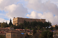 TheKing David hotel and YMCA tower stand over the buildings of Yemin Moshe in Jerusalem.