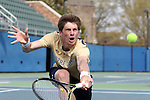 03 April 2015: Notre Dame's Alex Lawson. The Duke University Blue Devils hosted the University of Notre Dame Fighting Irish at Ambler Stadium in Durham, North Carolina in a 2014-15 NCAA Division I Men's Tennis match. Duke won the match 5-2.
