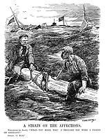 """A Strain on The Affections. Norwegian (to Swede). """"What - you here, too? I thought you were a friend of Germany?"""" Swede. """"I was."""" (Swedish and Norwegian sailors await rescue after their ships have been sunk by German u-boats during WW1)"""
