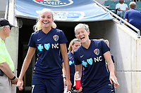 Cary, North Carolina  - Sunday May 21, 2017: Courtney Niemiec and Kristen Hamilton prior to a regular season National Women's Soccer League (NWSL) match between the North Carolina Courage and the Chicago Red Stars at Sahlen's Stadium at WakeMed Soccer Park. Chicago won the game 3-1.