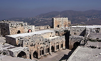 The 13th century Chevaliers' Room with Gothic cloister, Krak des Chevaliers, Qala'at al-Husn, originally built 1031 for amir of Aleppo, occupied by Crusader Tancred of Galilee in 1110, and given in 1144 to Knights Hospitaller, who rebuilt it as the largest Crusader castle in the Levant. Finally recaptured in 1271 and further modified by Mamluk Sultan Baybars, Homs Gap, Syria Picture by Manuel Cohen