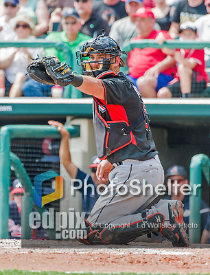 19 March 2015: Miami Marlins catcher Jeff Mathis in Spring Training action against the Atlanta Braves at Champion Stadium in the ESPN Wide World of Sports Complex in Kissimmee, Florida. The Braves defeated the Marlins 6-3 in Grapefruit League play. Mandatory Credit: Ed Wolfstein Photo *** RAW (NEF) Image File Available ***