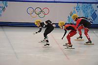 OLYMPICS: SOCHI: Iceberg Skating Palace, 13-02-2014, Shorttrack, Ladies' 500m, Quarterfinals, Arianna Fontana (#124 | ITA), Jianrou Li (#111 | CHN), Valerie Maltais (#107 | CAN), ©photo Martin de Jong