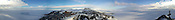 McMurdo Station and the New Zealand on Ross Island, Antarctica, are seen in this 360 degree panorama taken from Ob Hill at about 1 a.m. in early January, 2001. At far right is the cross that erected in the memory of Robert Falcon Scott and the five explorers who died trying to be the first to reach the south  pole. Ernie Mastroianni photo.