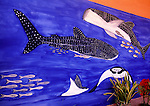 House wall mural depicts whale sharks, a big tourist attraction in the waters of Isla de Holbox, Mexico.