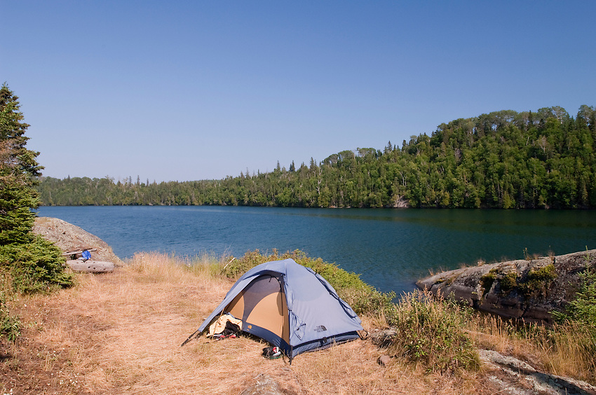Tent camping at Isle Royale National Park.