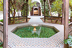 Patio garden with fountain in the museum of Dar Si Said in Marrakech.