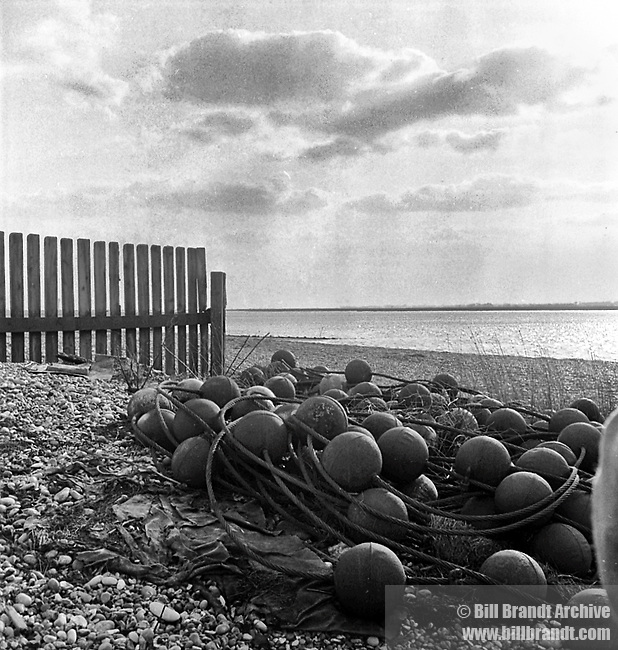 Aldeburgh beach with fishing nets 1940s