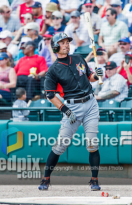 19 March 2015: Miami Marlins outfielder Ichiro Suzuki stands on deck during Spring Training action against the Atlanta Braves at Champion Stadium in the ESPN Wide World of Sports Complex in Kissimmee, Florida. The Braves defeated the Marlins 6-3 in Grapefruit League play. Mandatory Credit: Ed Wolfstein Photo *** RAW (NEF) Image File Available ***