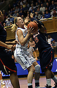 Kathleen Scheer makes a layup in the first half. Duke woman's basketball beat Virginia 77-66 on Monday, January 2, 2012 at Cameron Indoor Stadium in Durham, NC. Photo by Al Drago.