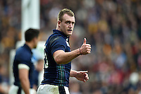 Stuart Hogg of Scotland gives a thumbs up. Rugby World Cup Quarter Final between Australia and Scotland on October 18, 2015 at Twickenham Stadium in London, England. Photo by: Patrick Khachfe / Onside Images