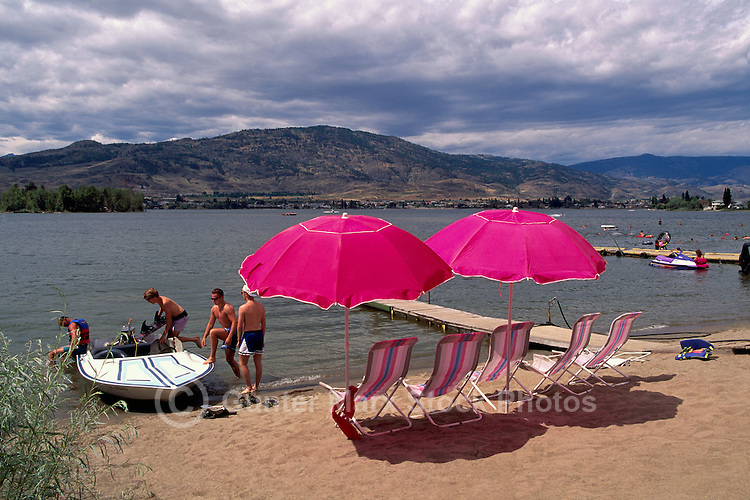 Sunbathing and Boating on Osoyoos Lake, Osoyoos, BC, South Okanagan Valley, British Columbia, Canada, Summer