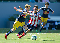CARSON, CA - August 25, 2013: New York Red Bulls midfielder Dax McCarty (11) during the Chivas USA vs New York Red Bulls match at the StubHub Center in Carson, California. Final score, Chivas USA 3, New York Red Bulls 2.