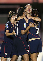 Goal Celebration. USWNT defeated Costa Rica 4-0 in the 2010 CONCACAF Women's World Cup Qualifying tournament held at Estadio Quintana Roo in Cancun, Mexico on November 1st, 2010.