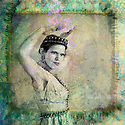 Woman wearing crown and gesturing. Photo based illustation.
