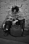 "Legendary figure living in New York City from 1940 to 1970,  Louis Hardin (1916 to 1999) alias ""The Viking of Sixth Avenue"", alias ""Moondog"" stood 24 hours a day at the corner of 6Th Avenue and 54th Street. He was dressed as a Viking. This strange character was in fact a blind composer, extremely well known in the music industry and was a friend of Arturo Toscanini, Leonard Bernstein, Benny Goodman and more. Moondog created hundred of compositions in Braille and died in Germany in 1999."