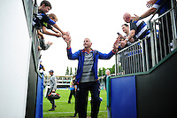Bath Director of Rugby Todd Blackadder high-fives supporters after the match. Aviva Premiership match, between Bath Rugby and Newcastle Falcons on September 10, 2016 at the Recreation Ground in Bath, England. Photo by: Patrick Khachfe / Onside Images