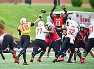 College Park, MD - APR 22, 2016: Maryland Terrapins quarterback Max Bortenschlager (18) throws a pass over a defender during the 2017 Spring game at Capital One Field at Maryland Stadium in College Park, MD. (Photo by Phil Peters/Media Images International)