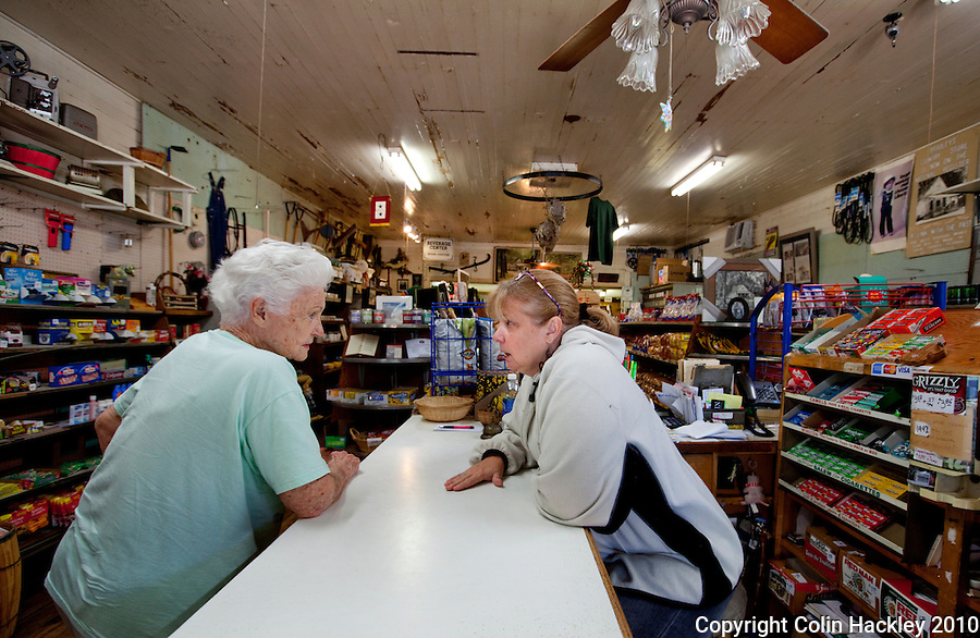TALLAHASSEE, FLA. 8/23/10-VISITTALLY-082310-HACKLEY-Long-time customer Oleta Howell talks with Janet Bradley Parker over the counter at Bradley's Country Store in Tallahassee...COLIN HACKLEY PHOTO
