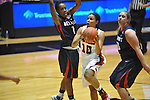 "Ole Miss' Diara Moore (10) vs. Belmont's Adrienne Tarrence (1) and Belmont's Alyssa Visbeen (50) at the C.M. ""Tad"" Smith Coliseum in Oxford, Miss. on Sunday, December 16, 2012. Ole Miss won 63-48."