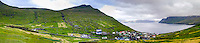 Faroe Islands. Funningur town on the north-west coast of Eysturoy.