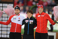 SPEED SKATING: HAMAR: Vikingskipet, 04-03-2017, ISU World Championship Allround, Podium 500m Men, Konrad Niedzwiedzki (POL), Shota Nakamura (JPN), Sindre Hendriksen (NOR), ©photo Martin de Jong