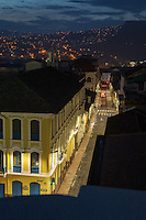 Ariel view of Simon Bolivar Street at night, Quito, Ecuador, South America