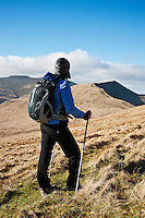 Female hiker looking towards distant summit of Cribyn, Brecon Beacons national park, Wales