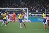 VOETBAL: CAMBUURSTADION: LEEUWARDEN: 15-12-2013, SC Cambuur AJAX, uitslag 1-2, Bart van Brakel (#8) in duel met Daley Blind (#17), ©foto Martin de Jong