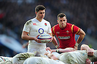 Ben Youngs of England looks to put the ball into a scrum. RBS Six Nations match between England and Wales on March 12, 2016 at Twickenham Stadium in London, England. Photo by: Patrick Khachfe / Onside Images