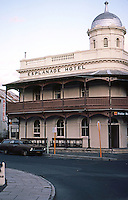 """Fremantle: Esplanade Hotel, 1897. """"The only hotel in Fremantle to retain its verandahs and tower"""". Photo '82."""