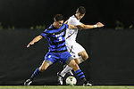 26 September 2014: Duke's Brody Huitema (CAN) (9) and Boston College's Henry Balf (right). The Duke University Blue Devils hosted the Boston College Eagles at Koskinen Stadium in Durham, North Carolina in a 2014 NCAA Division I Men's Soccer match. Duke won the game 1-0.