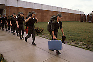 Fort Dix, NJ, USA, June 1980. Rookies are escorted to the barracks, were they will quarter during the whole training period.