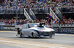 Jun. 17, 2011; Bristol, TN, USA: NHRA pro mod driver Leah Pruett-LeDuc during qualifying for the Thunder Valley Nationals at Bristol Dragway. Mandatory Credit: Mark J. Rebilas-