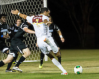 The Winthrop University Eagles beat the UNC Asheville Bulldogs 4-0 to clinch a spot in the Big South Championship tournament.  Achille Obougou (7) scores a goal