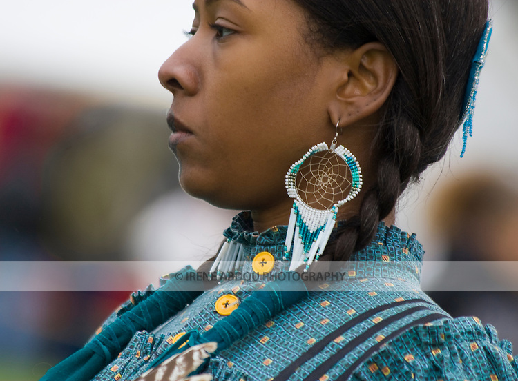 A Native American woman dances at the Healing Horse Spirit PowWow in Mt. Airy, Maryland.