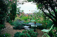 A greengage tree provides shade for an outdoor dining area amongst the tangle of cottage garden plants