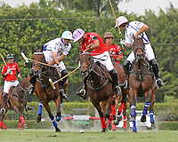 WELLINGTON, FL - MARCH 05: Adolfo Cambiaso of Valiente and Facundo Pieres of Orchard Hill (Red) battle for the ball as Valiente defeats Orchard Hill 14-11, in the 26 goal CV Whitney Cup Final, at the International Polo Club, Palm Beach on February 26, 2017 in Wellington, Florida. (Photo by Liz Lamont/Eclipse Sportswire/Getty Images)