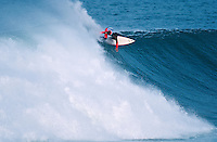 Maurice Cole (AUS) surfing Mundaka rivermouth during an epic swell in November 1989. Mundaka, Basque Country, Spain. Photo: joliphotos.com