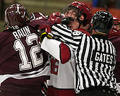 Kyle Baun (Colgate - 12), Alex Fallstrom (Harvard - 16), Kyle Gates - The Harvard University Crimson defeated the Colgate University Raiders 4-1 (EN) on Friday, February 15, 2013, at the Bright Hockey Center in Cambridge, Massachusetts.
